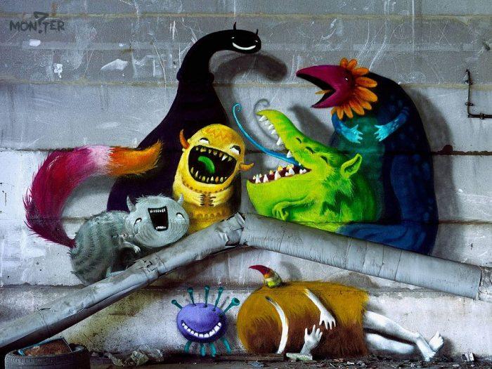Милые монстры — граффити на стенах Берлина