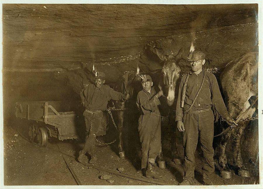 Мальчики-шахтёры и тяговые мулы в одной из угольных шахт Западной Виргинии. 1908 год