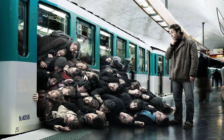 час пик в общественном транспорте