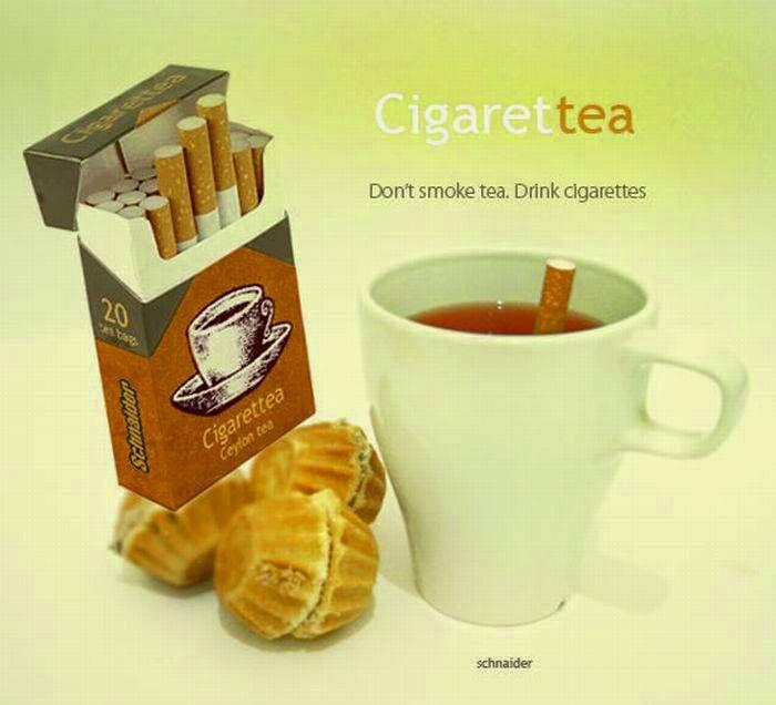 Стилизованный под сигареты чай