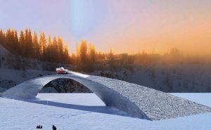 Ледяной мост по проекту Леонардо да Винчи