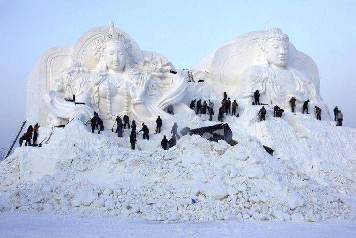 Снежная баба, как вид искусства