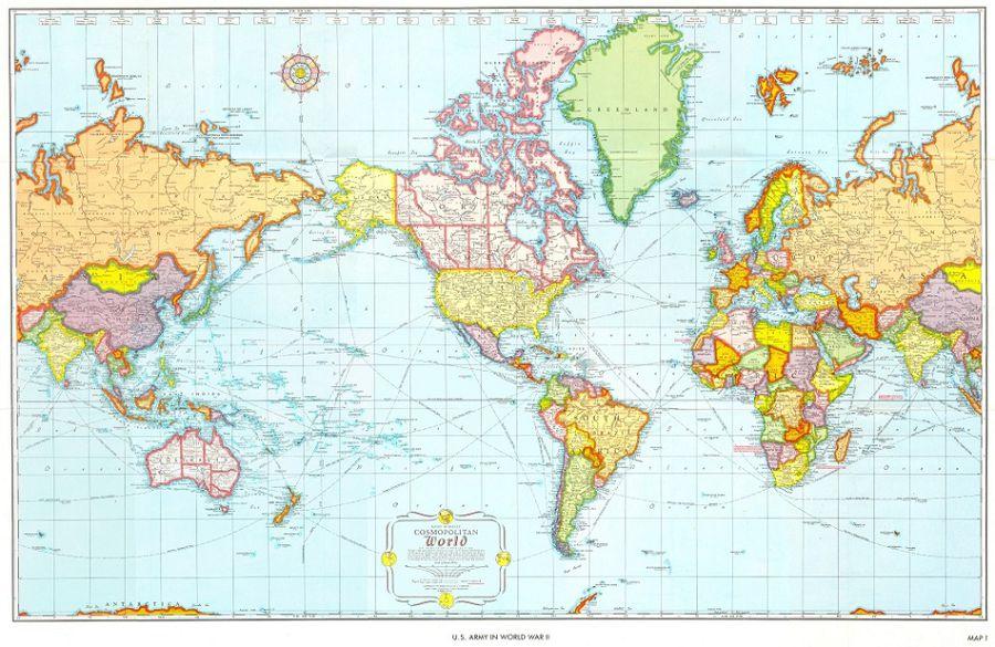 карта мира США