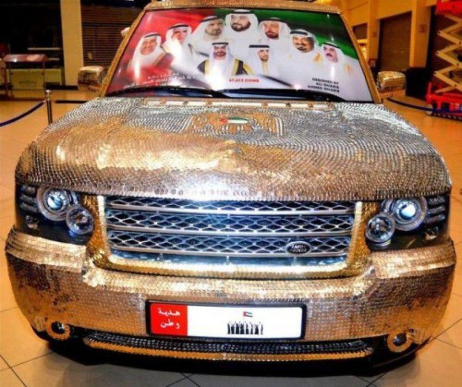 автомобиль в золотых монетах