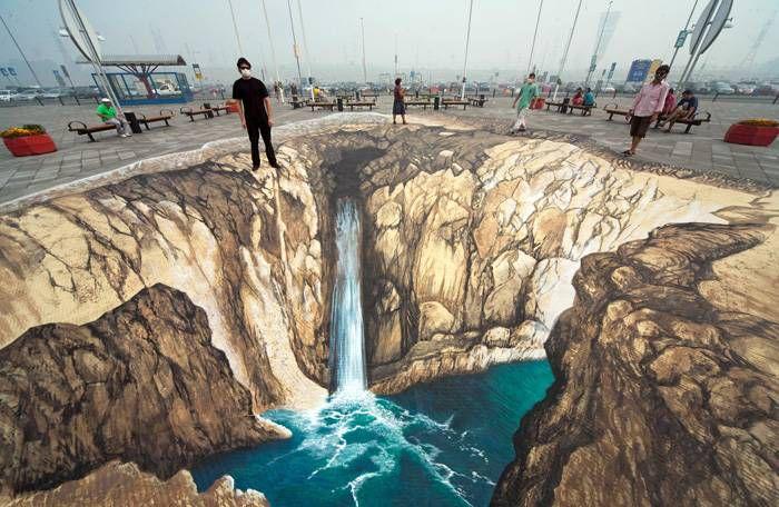 3D-рисунок, москва, водопад