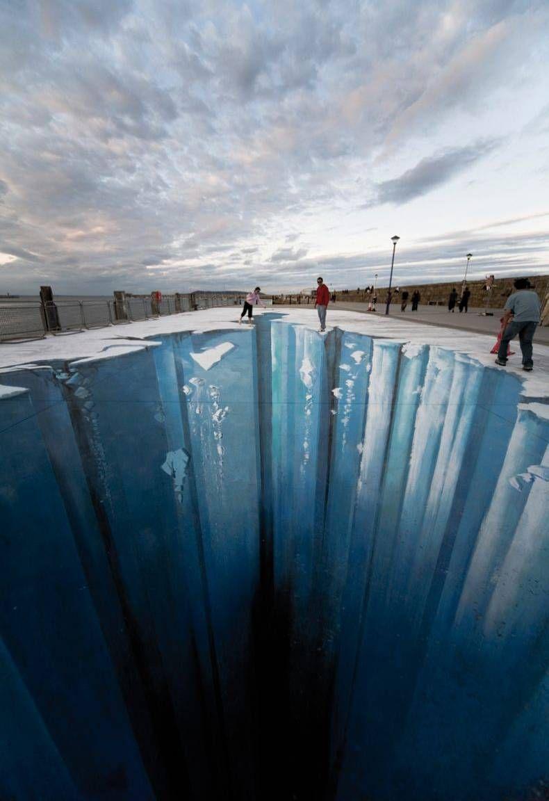 3D-рисунок, пропасть, ледник