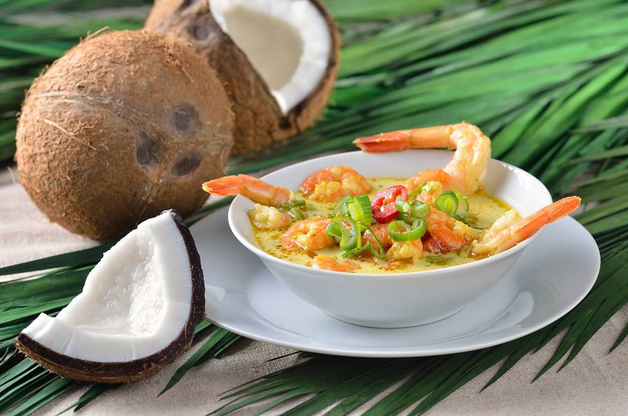 Креветки с карри в кокосовом молоке