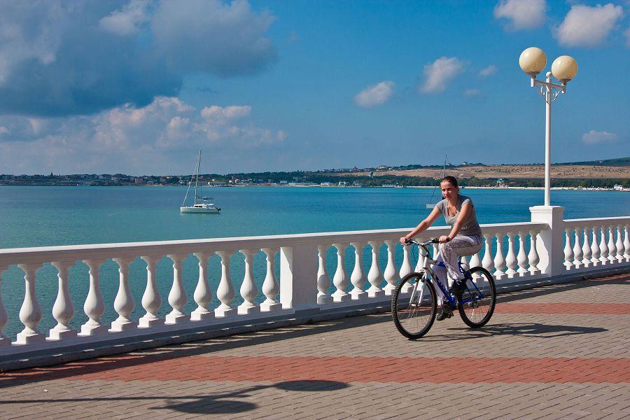 пейзаж, велосипед, девушка