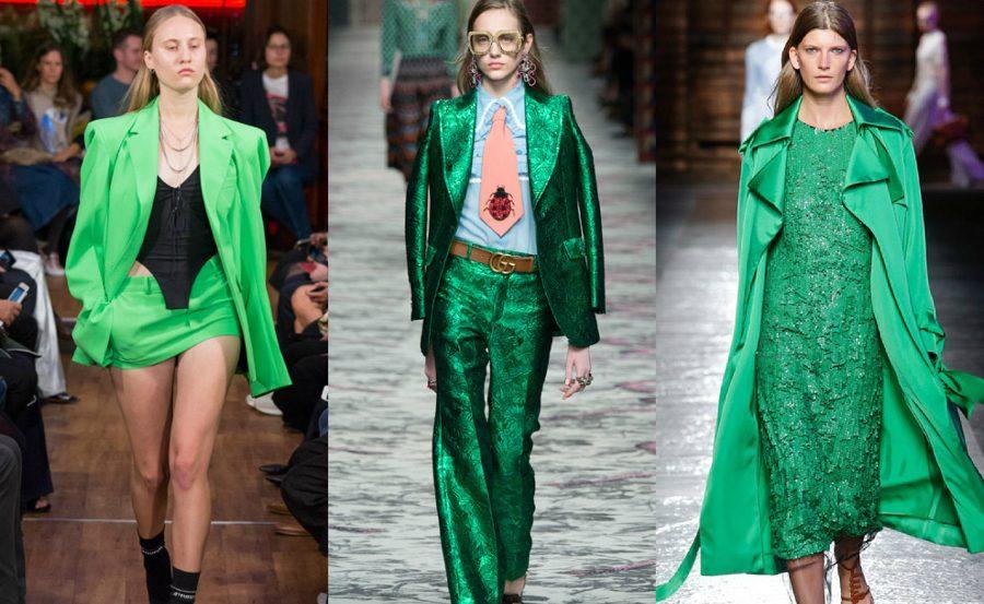 девушки на подиуме в зеленом