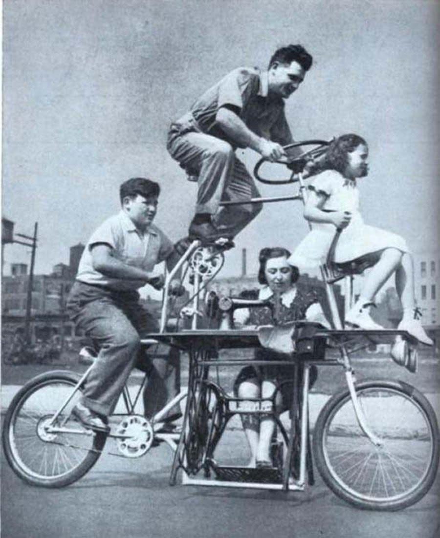 Семейный велосипед со швейной машинкой