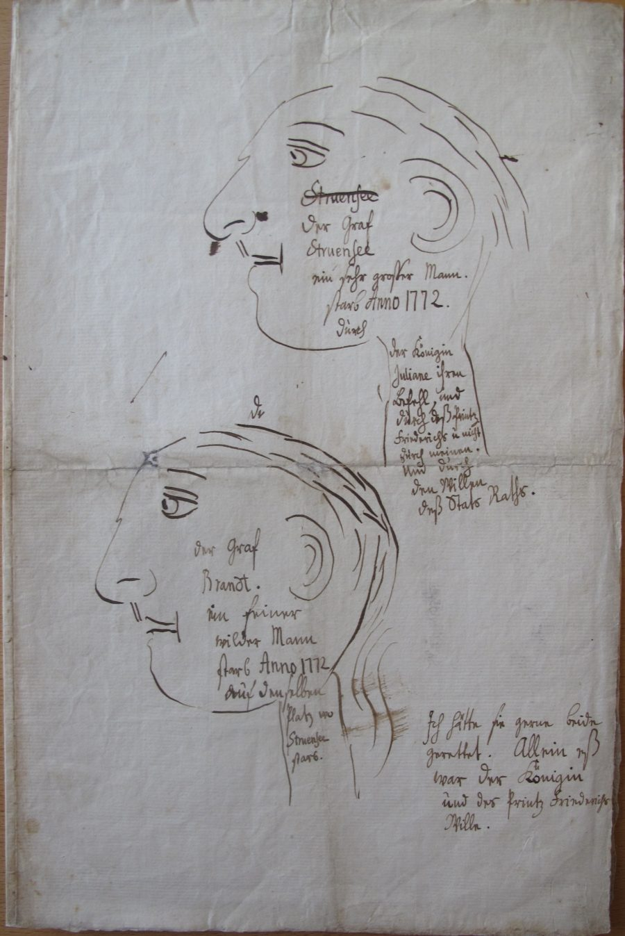 безумные диктаторы. Рисунки Кристиана VII, на которых он писал, что не смог их спасти.