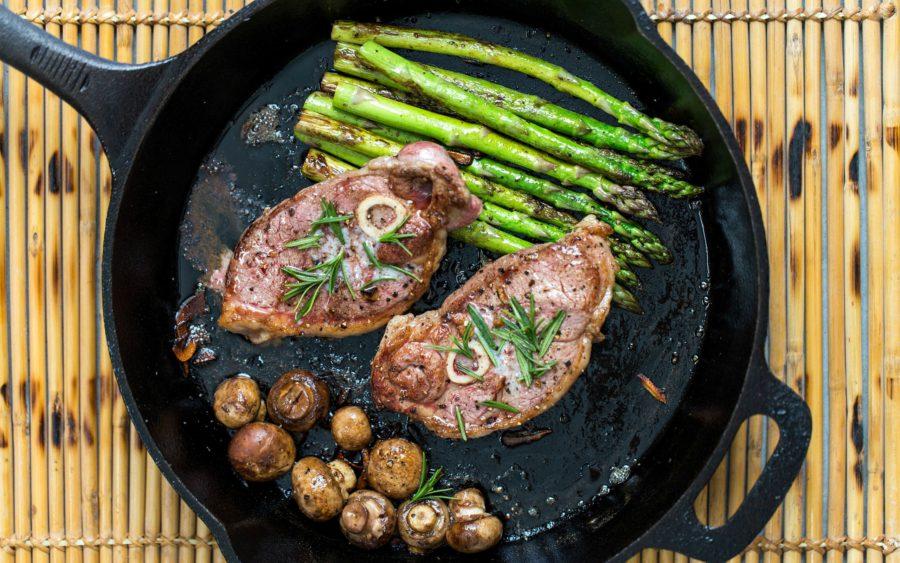 мясо на сковороде