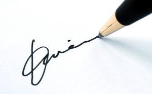 подпись человека