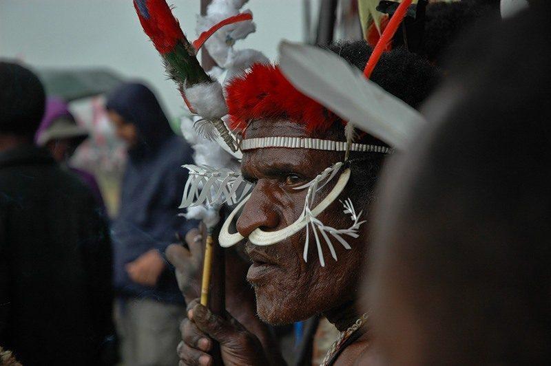 красота. Новая Гвинея. Воин племени асматов