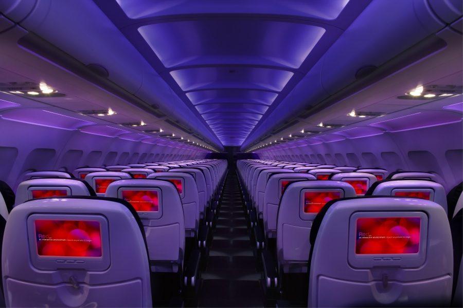 салон самолета авиакомпании Virgin America