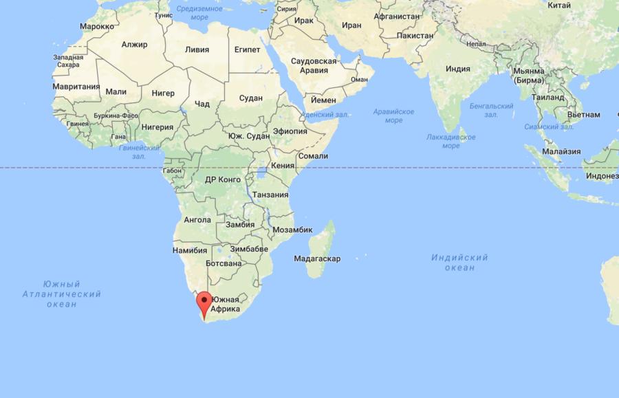 Ботривьер в ЮАР карта