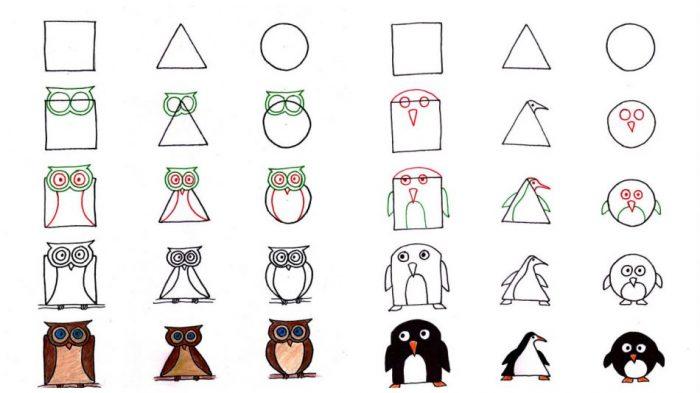 Как нарисовать любое животное из квадрата, треугольника или круга