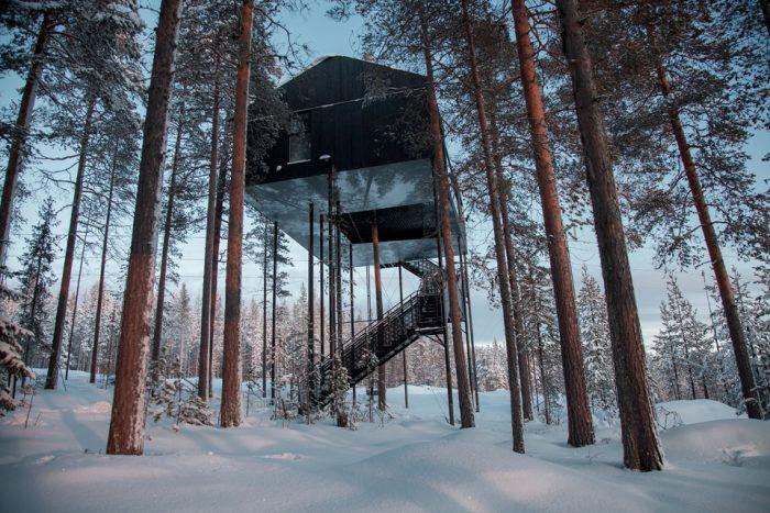 В этом отеле в Лапландии, вы сможете жить на верхушках деревьев под северным сиянием