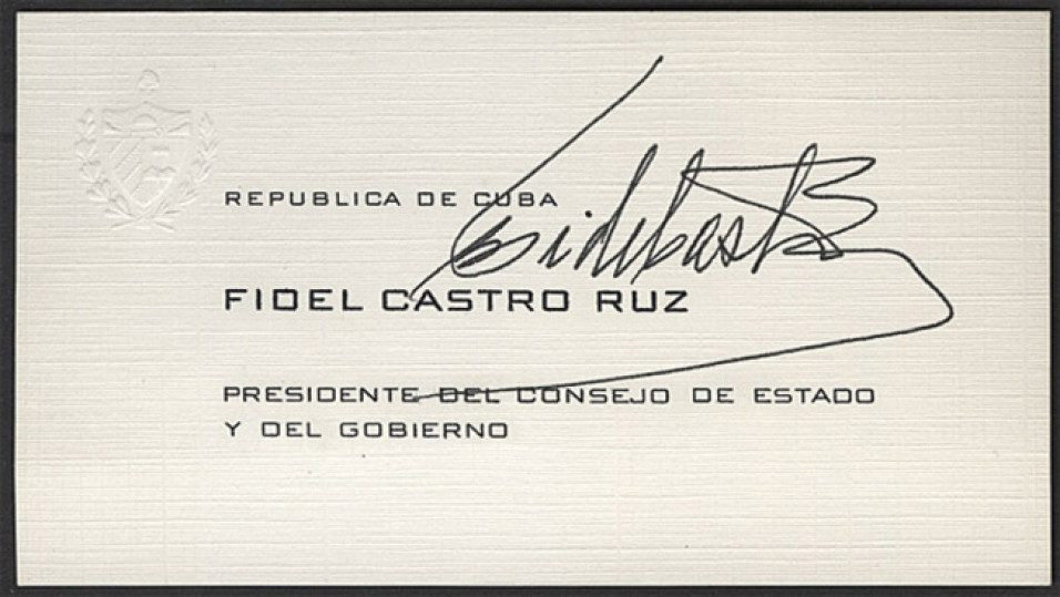 Визитка Фиделя Кастро