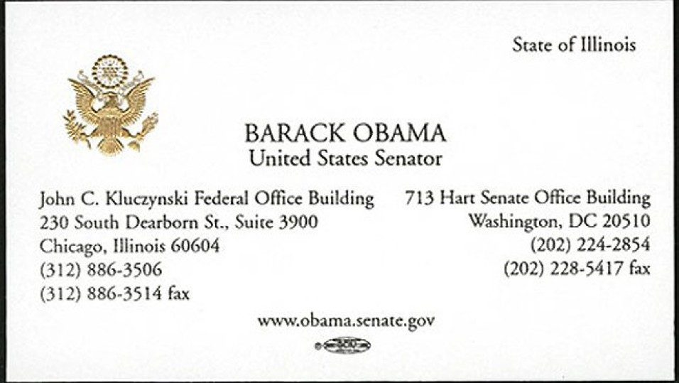 Визитка Барака Обамы