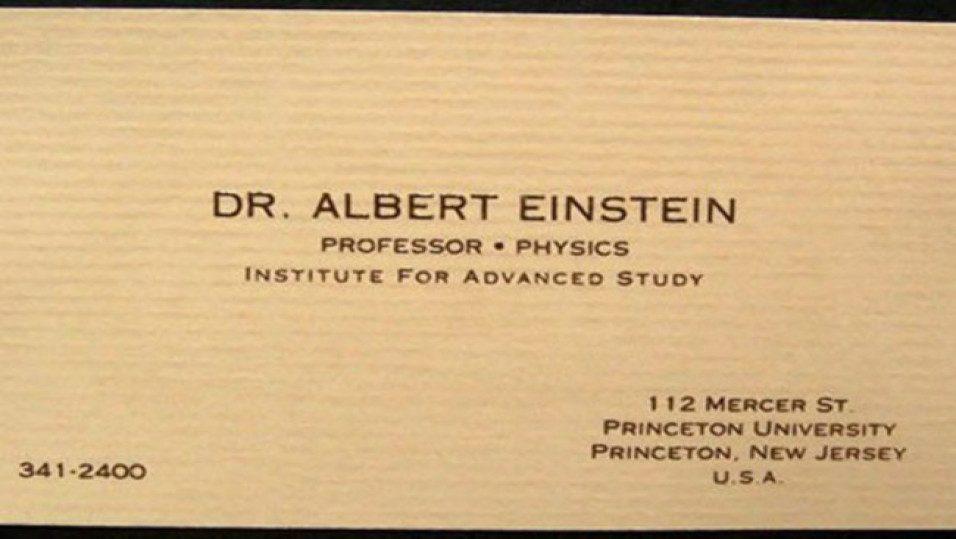 Визитка Альберта Эйнштейна