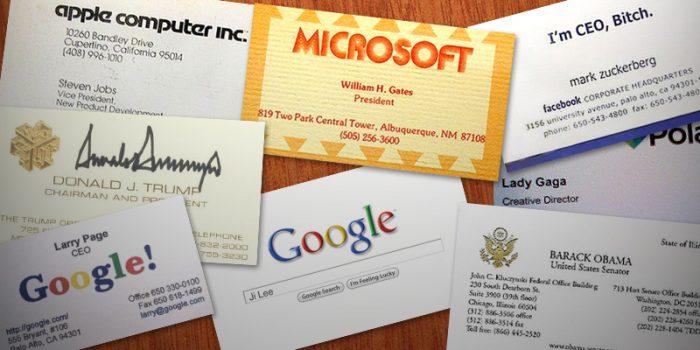 Как выглядят визитки всемирно известных людей