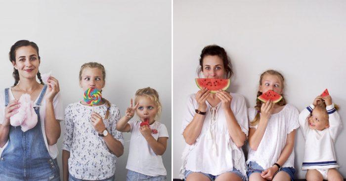 Мама двоих очаровательных девочек, делает милые фото в схожих образах