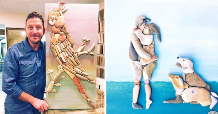 Парень создает реалистичные картины из морских камней