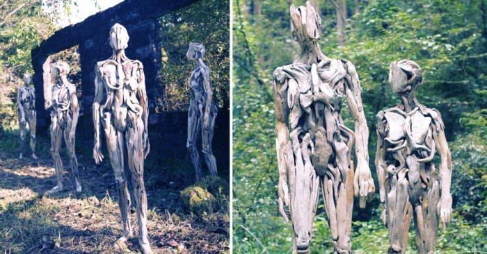 Необычные скульптуры из коряг японского художника Нагато Ивасаки