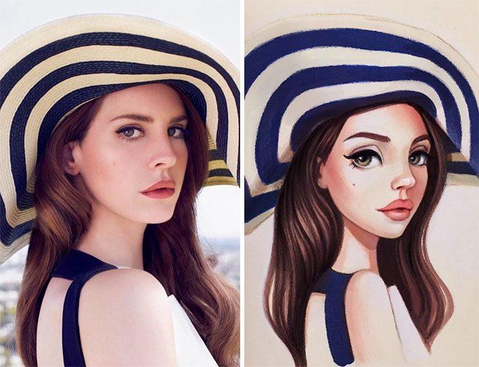 Русская художница превращает знаменитостей в очаровательных мультяшных персонажей