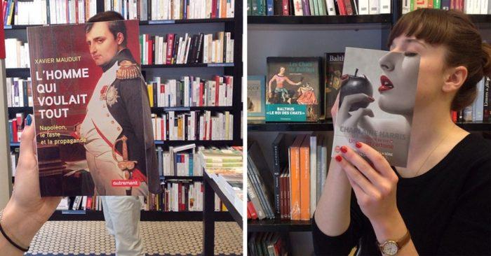 Библиотека — не место для скуки, люди примеряют обложки на себя