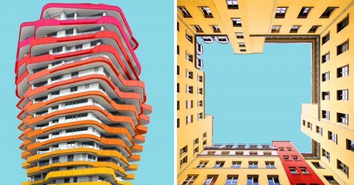 Серый городской пейзаж — скучный, поэтому я начал тонировать здания в Фотошопе