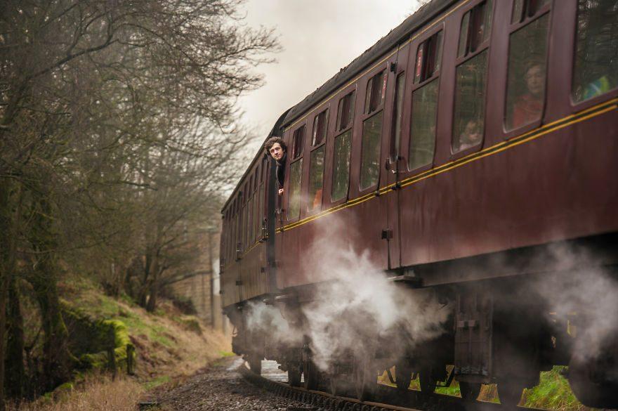 Приближение пассажирского паровоза, Хауорт, Великобритания