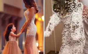 Мама и дочь в своих платьях или эта кошка